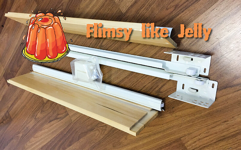 Traditional White Shaker (RTA Cabinet Store): Flimsy epoxy drawer glides